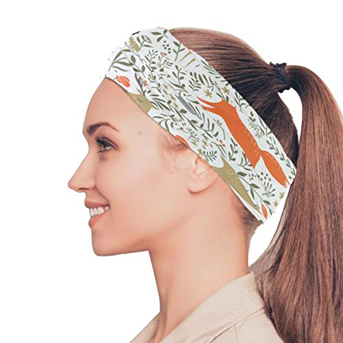 Deer Rabbit Animal Elastic Stirnbänder Head Wrap Schal Sport Schweißband Gesichtsmaske Magic Scarf Haarschmuck Bands Krawatten Für Frauen Mädchen Laufen Fitness Yoga - Tiere Schal Woodland