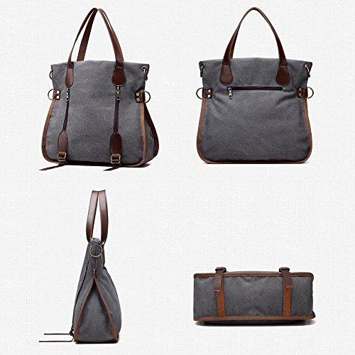 Nlyefa Vintage Canvas Handtasche Umhängetasche, Damen Schultertasche Multifunktionstasche für tägliche Leben, Arbeit und Schule Grau