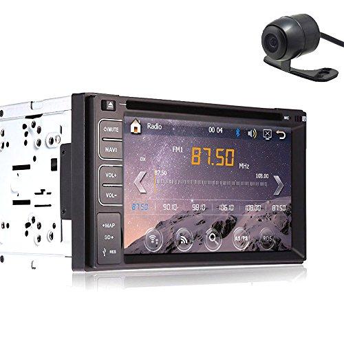 6.2 pouces Lecteur DVD Double din pour Tableau de bord HD de Navigation à écran tactile GPS Autoradio stéréo Bluetooth Support/USB/SD/BT/Iphone/AM/FM/AV-Pour caméra de recul 2 autoradio Double din lecteur DVD voiture avec Navigation GPS pour tableau de bord voiture Caméra vidéo-audio Carte PC