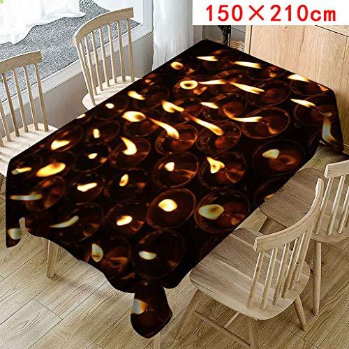 FeiliandaJJ Tischdecke Kerze Muster Valentinstag Tischtuch Tisch Cover für Hochzeit Party Outdoor Hotel,Valentinstag Home Decor Pflegeleicht,Größen Wählbar (Mehrfarbig, C(150X210cm))
