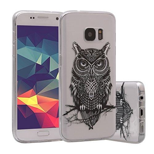 Preisvergleich Produktbild Galaxy S7 Hülle,  ZXK CO Ultra Dünn TPU Weich Silicone Schutzhülle für Samsung Galaxy S7 Hülle Crystal Clear Case Backcover –Eule
