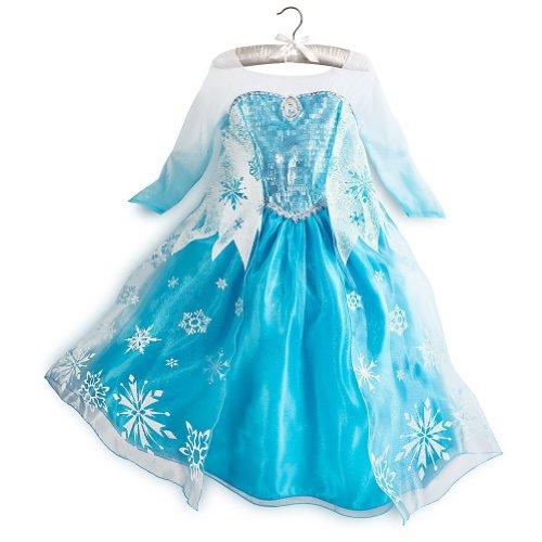 Disney original - Rubies Kinder Mädchen Glanz Kostüm Eiskönigin ELSA mit Handschuhen - Alter 9-10 (Kristoff Kostüm Anna)