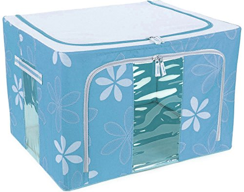 Kuber Industries™ Saree Cover /Lehenga/Woolens Storage Box with Steel Frames - Sky...