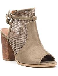 Ideal Shoes - Bottines ajourées et bout ouvert effet daim Belenia