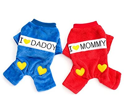Ranphy Small Dog Clothes for Girls Boys Comfort I Love Dadoy Mommy Heart Printed Dog Jumpsuits Fleece