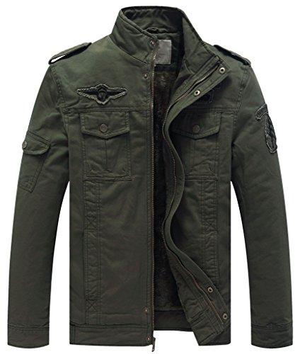 Wenven giacca in cotone invernale stile militare uomo verde militare x-large