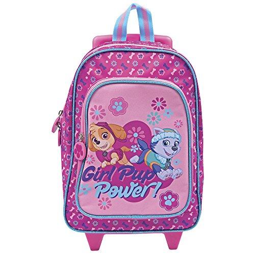 """Valise enfant """"Paw Patrol"""" - Sac à dos / valise avec roues et bandoulières pour maternelle et école primaire, avec impression de Stella et Everest - 31 x 23,5 x 13 cm - Perletti"""