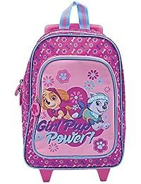 Perletti Paw Patrol–Girl Pup Power–Enfants Trolley–Droit Valise avec roulettes et Sangles d'épaule pour la Maternelle et l'école Primaire avec Skie et Everest