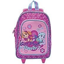 Perletti - Trolley de niña Paw Patrol: La Patrulla Canina - Girl Pup Power - Mochila con ruedas y correas con estampado de Skye y Everest - 31 x 23,5 x 13 cm