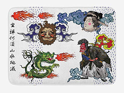 NasNew Dragon Bath Mat, Japanese Manga Figures Dragon with Fire a Man with Kimono Geisha Tribal Characters, Plush Bathroom Decor Mat with Non Slip Backing, 31.69 X 19.88 Inches, Green Blue -