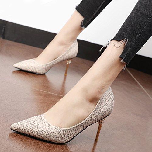 Xue Qiqi Court Schuhe Antique Gold Seide Tipp im Flachen Wasser Bohren High-Heel Schuhe der Feinen Art und Weise Buchstabiere Farbe Graffiti Fein mit Schuhe, 35, Gold