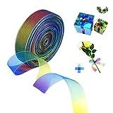 Nastro in organza trasparente, colori arcobaleno, per decorare regali, fai da te, matrimoni, feste, festival, forniture (25 mm/45 m/1 rotolo)