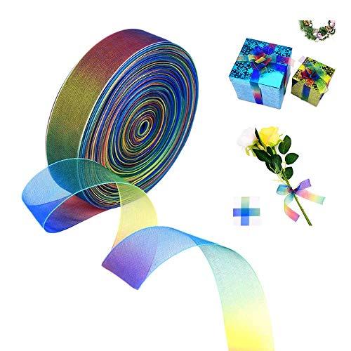 Cinta organza brillante colores arco iris