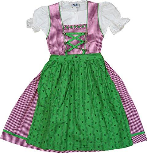 Isar-Trachten Knuffiges Kinderdirndl PINKI Baumwolle grün beere 3-tlg. Komplett-Set