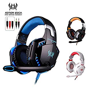 KOTION Each G2000 PC Gaming Headset Over-Ear Game Gaming Headphone Headset Earphone Headband with Volume Control with Mic Stereo Bass LED Light for Desktop Computer/Laptop Gamer (Black Blue)