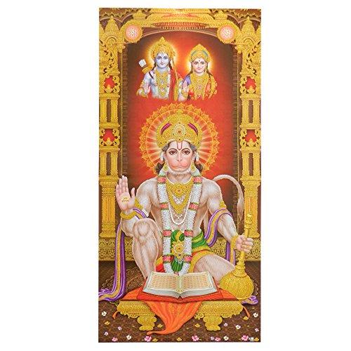 Bild Hanuman mit Rama und Sita 100 x 50 cm Kunstdruck Plakat Poster Indien Hinduismus Hochglanz Dekoration