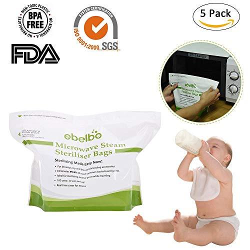 Mikrowellenbeutel Sterilisator für Babyflaschen, Sauger Schnell Reinigen Mikrowellendampf Desinfektion Dampfbeutel 5er-Packung