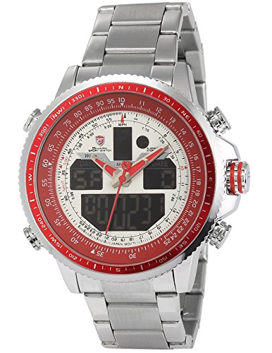 Shark Herren Armbanduhr XXL LCD Digital/Analog Weckerfunktion Edelstahl Uhrband SH328