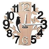 Umi.Essentials lautlose Wanduhr in Form Baum mit Vogel Dekouhr Holzuhr im Durchmesser 28.5CM