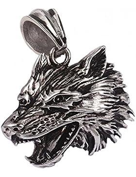 Anhänger Kettenanhänger aus Edelstahl Wolf Wolfskopf