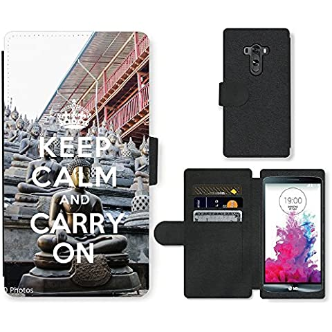 PU Cuir Flip Etui Portefeuille Coque Case Cover véritable Leather Housse Couvrir Couverture Fermeture Magnetique Silicone Support Carte Slots Protection Shell // Q01018302 keep calm and carry on 910 // LG