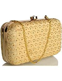 Mammon Women's Bridal Clutch with Golden sling (box-dotjari)