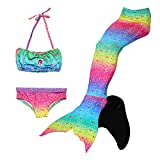 Le SSara Seemädchen Cosplay Bademode Mermaid Shell Badeanzug mit FIN Swimmable Mermaid Schwanz (130, GB04+Black)