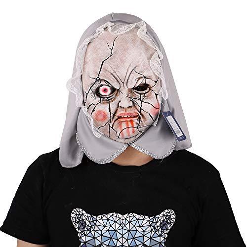 Kostüm Bilder Zombie Thriller - LXHSY Thriller Porzellan Puppe Maske Kopfbedeckung Maskerade Performance Bar Kopf Maske Halloween Weihnachtsfeier Kostümdekorationen Adult Zubehör