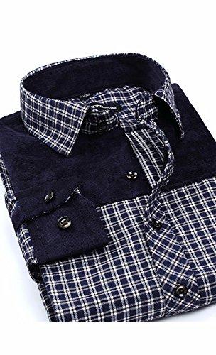 Awake Herren Langarm-Fleece-Hemd mit Knöpfen (Plaid Robe Flanell)