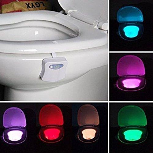 Kingcenton Motion Sensor WC Nachtlicht mit 8 Farben Wechselnde LED Toilette Licht Sitzleuchte, DetektorToilette WC-Schüssel Licht -