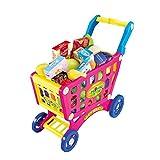 TRULIL Domestici Playsets Giocattoli Bambini Trolley Carrello supermercato Trolley Play Set con Frutta Verdura Giocattolo Carrello con rotelle per Bambine, 345Anni Red