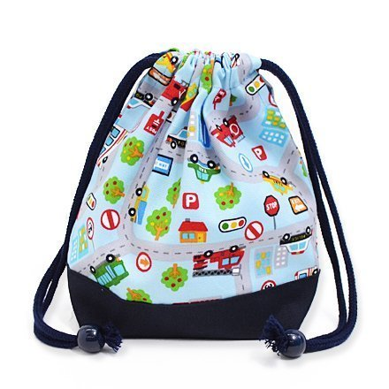 Drawstring Gokigen lunch get together (small size) cup gusset bag! Various car (Sky Blue) x Ox navy blue made in Japan N3566100 (japan import)