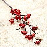 Gaeruite 1PCS artificiale Plum BLOSSOM60cm lungo Lifelike Plum Blossom Flower bouquet Branch seta Tall falso composizioni floreali per matrimonio casa decorazione, Red, as show