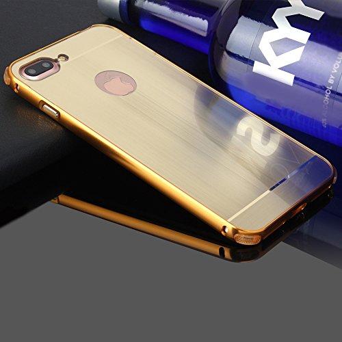 iPhone 7 Plus Custodia in Nero,Slynmax Lusso Mirror Case Specchio Metallo Design Schockproof Cover Custodia per iPhone 7 Plus Anti-Scratch 2in1 Hard Plastica PC Backcover Sodo Alluminio Telaio Metal F Oro