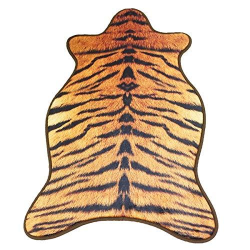 Dodom Animal Teppich Leopard Cow Wolf Tiger Bedrucktes Rindsleder Kunstleder Rutschfester Antirutschmatte 55 * 90cm Animal Print Teppich, Tiger, 55x90cm -