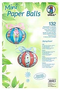 Ursus 24190099Diseño Rayas Mini Paper Balls Spring Fever, 132Rayas y Accesorios para 12Bolas Decorativas