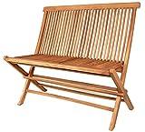 Teak Garten Klappbank massiv Holz 2-Sitzer