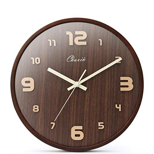 MAGO Wanduhr stumm Uhr für Wohnzimmer und Schlafzimmer Massivholz Nussbaum Farbe