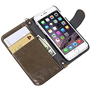 iPhone SE/5S/5 Wallet Case MONOJOY Harris Tweed Cover Retro Handmade Fabrics and Synthetic Leather Flip Folio Book Shell with Magnetic Clasp, Credit Card Holder, Money Pouch, Keying(Coffee)