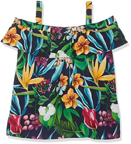 NAME IT Mädchen NKFVINAYA Off Shoulder H Top, Mehrfarbig (Dark Sapphire), 122 (Herstellergröße: 122-128) - Spaghetti-mädchen-shirt