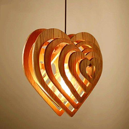 Land Designer Kreative Kunst und Persönlichkeit Light Restaurant einfachen Herzförmigen Holz Leuchter Holz herzförmigen Hochwertige Holz- Farbe Persönlichkeit kreative Mode Classic E 27. (Designer 3 Light Classics)