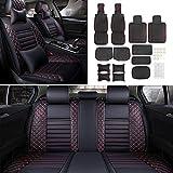 RISHIL WORLD 5-Seat Black&Red Universal Auto Car Seat Cushion Front Rear Head Rests Full Set Protector Single Item.