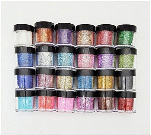 Xichen® Lot de 24 pots de poudre de paillettes fine en acrylique pour nail art 10 g