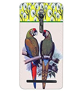 PrintDhaba PARROT COUPLE D-6244 Back Case Cover for ASUS ZENFONE 2 (Multi-Coloured)