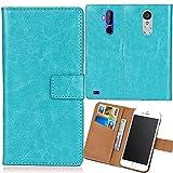 Dingshengk Blau Premium PU Leder Tasche Schutz Hülle Handy Case Wallet Cover Etui Ledertasche Für Maze Blade 4G Phablet 5.5