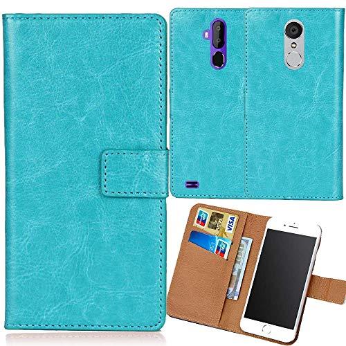 Dingshengk Blau Premium PU Leder Tasche Schutz Hülle Handy Case Wallet Cover Etui Ledertasche Für Oukitel K10000 Max 5.5