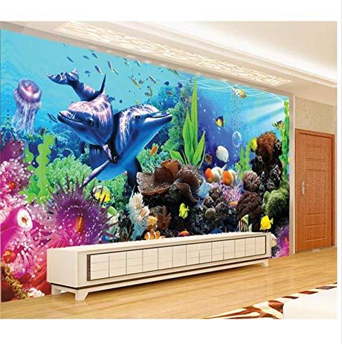 Hyf 3D Tapete Wandbild Wandaufkleber Die Stereo Tropische Fische Aquarium Foto 3D Wandbilder Wallpaper, 300 * 210Cm (Die Hintergründe Fisch-tanks,)