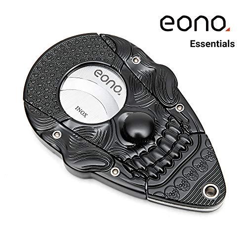 Amazon Marke: Eono Essentials Zigarrenschneider mit Verschlusssystem Schwarz 3D-Schädel Rostfreier Stahl, Selbstschärfende Guillotine, Doppelklinge