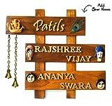 #10: Vasu Art's Name Plate for Home Door Teak Wood Customizing Handmade Hanging Water Proof