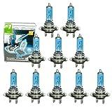 ECD Germany 10 Stück Halogen Scheinwerferlampe H7-8500K 60/55W - 12V P43T - Xenon Optik Xtreme White - mit E4 Zulassung - Glühbirne Birne Glühlampe Autolampe Lampe